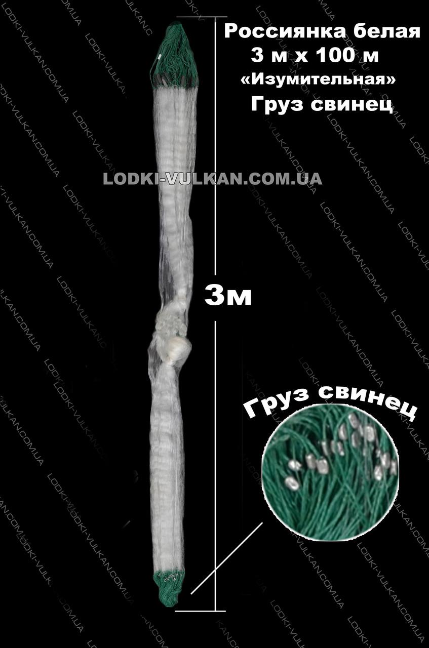 Сеть россиянка трехстенка 100м х 3м (Белая) из лески (Ø 40). Изумительная. Груз свинец