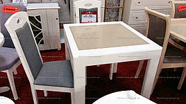 Кухонный стол трансформер Милан с камнем , стол Оникс Микс мебель, цвет белый
