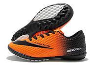 Сороконожки детские Nike Mercurial Walked оранжево-черные (найк меркуриал)