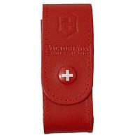 Чехол для ножей на пояс кожаный на кнопке 84-91 мм., 2-4 рядного Victorinox, красный