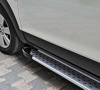 Пороги подножки алюминиевые Х-5 тип VW T4 Caravelle на короткую базу