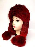 Модная зимняя шапка ушанка женская из натурального меха кролика