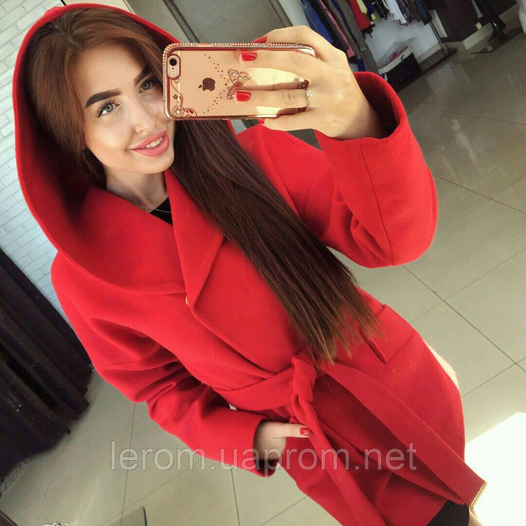 1e20d3847fb Красное кашемировое пальто с капюшоном Шарм