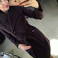 Пальто демісезонне шоколадного кольору, фото 1