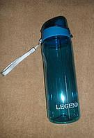 Бутылка спортивная для воды TRITAN с крышкой-защелкой 0,75л прозрачная синяя