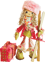 """Текстильная каркасная кукла """"Лыжница"""""""