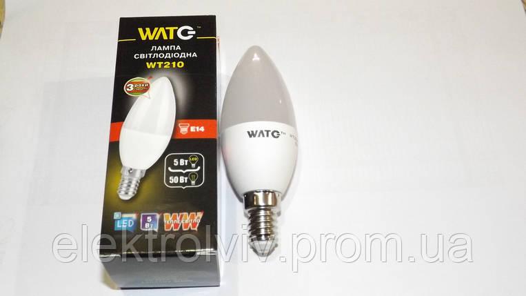 LED лампа свеча 5 W ,3000К, Е14, 410Lm, фото 2