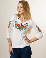 """Вишиванка жіноча рукав 3/4 """"Букет квітів"""" біла"""