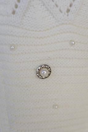 Женский белый вязаный кардиган (р. SML) арт. Мэри Жемчуг короткий, фото 2
