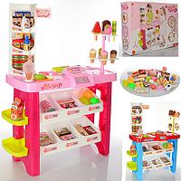 Игровой набор магазин 668-19-21, прилавок с кассой, сканер свет/звук, 40 предметов, 2 цвета на выбор