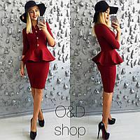 Модное платье-баска с крупными пуговицами(цвета)