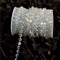 Бусины- кристаллы  на нитке перламутровые, 10 метров
