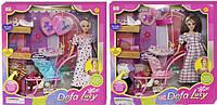 Беременная кукла DEFA 8049: ребенок, коляска, одежда, аксессуары, 2 вида, коробка 35х34,5х6 см