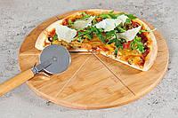 Набор: доска бамбуковая круглая и нож для пиццы, фото 1