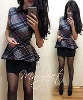 Платье с черной юбкой, верх баска