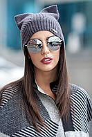 Женская вязаная шапка с ушками Kitty (разные цвета)