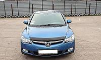 """Дефлектор капота Honda Civic 2006-2011 сед 4D (европ. сборка) """"SIM"""" темный"""