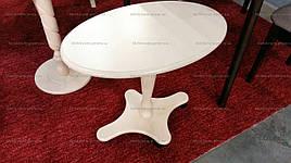 Стол журнальный овальный на колесиках Юла Модуль Люкс, белый