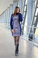 Вязаное короткое женское платье с принтом Ольга синее