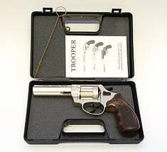 "Пневматика. Револьвер Trooper 4.5"" сталь сатин пластик/под дерево. Револьвер под патрон Флобера , фото 2"