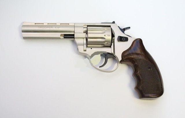 "Пневматика. Револьвер Trooper 4.5"" сталь сатин пластик/под дерево. Револьвер под патрон Флобера"