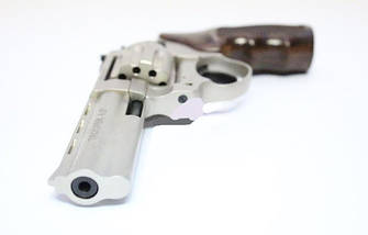 "Пневматика. Револьвер Trooper 4.5"" сталь сатин пластик/под дерево. Револьвер под патрон Флобера , фото 3"
