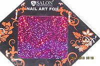 Фольга для лиття та дизайну нігтів в листі. Бузково-рожева голограма.