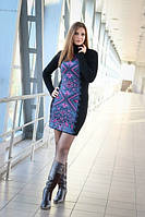 Платье вязаное женское с орнаментом Ольга чёрное