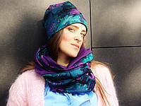 Снуд шарф в фиолетово-изумрудные цветы