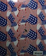 """Пленка аквапринт """"Американский флаг"""" М-6110, Харьков (ширина 100см)"""
