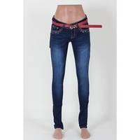Женские джинсы синие с потертостью