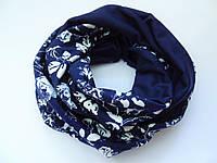 Снуд шарф в сине-белые цветы