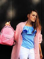Рюкзак розовый стеганый, фото 1