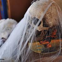 Паутина неоновая с пауками, декор на Хэллоуин