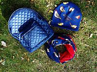 Рюкзак темно-синий матовый стеганый