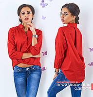 Коттоновая красная блузка асимметрия Лидия