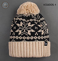 Шапка (зимняя, с помпоном) Staff - Art. KS0005-1 (бежевый \ чёрный)