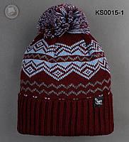 Шапка (зимняя, с помпоном) Staff - Art. KS0015-1 (коричневый \ голубой)