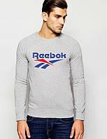Свитшот серый REEBOK ( синее лого )