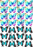 Вафельные картинки для торта большие бабочки