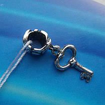 Шарм-подвеска Ключик для браслета Пандора, фото 3
