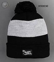 Шапка (зимняя , с помпоном) Staff - Art. KS0030 (чёрный \ серый)