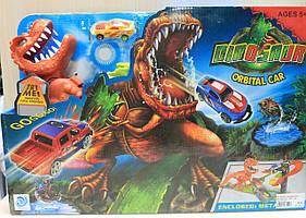 Музыкальный Автотрек Динозавр на батарейке, в коробке 49-33-10 см
