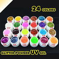Набор цветных гелей  GDCOCO  24 штук глиттерные 5 мл, фото 1
