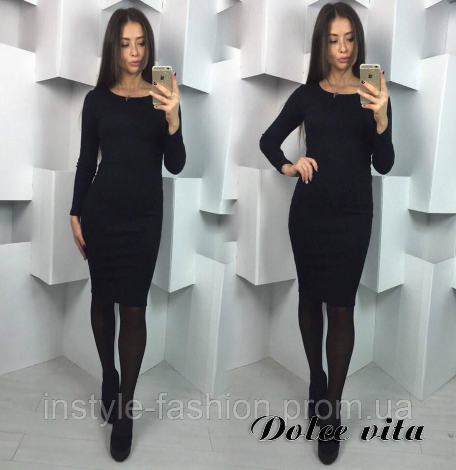 Стильное женское платье Ева ткань трикотаж резинка черное