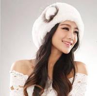Женский берет. Женская зимняя шапка. Натуральный мех, фото 1