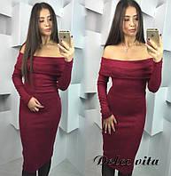 Женское стильное платье шарф ткань ангора цвет бордовый