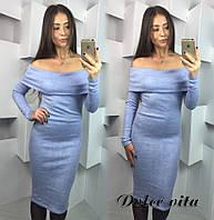 Женское стильное платье шарф ткань ангора цвет серый
