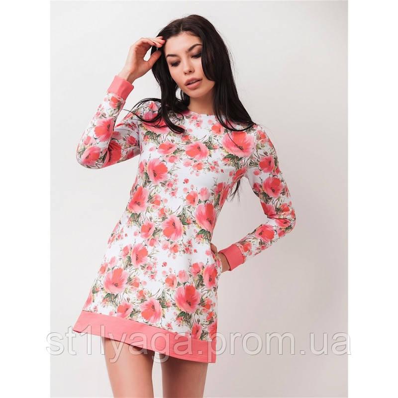 44/S платье мини свободного кроя с врезными карманами принт цветы