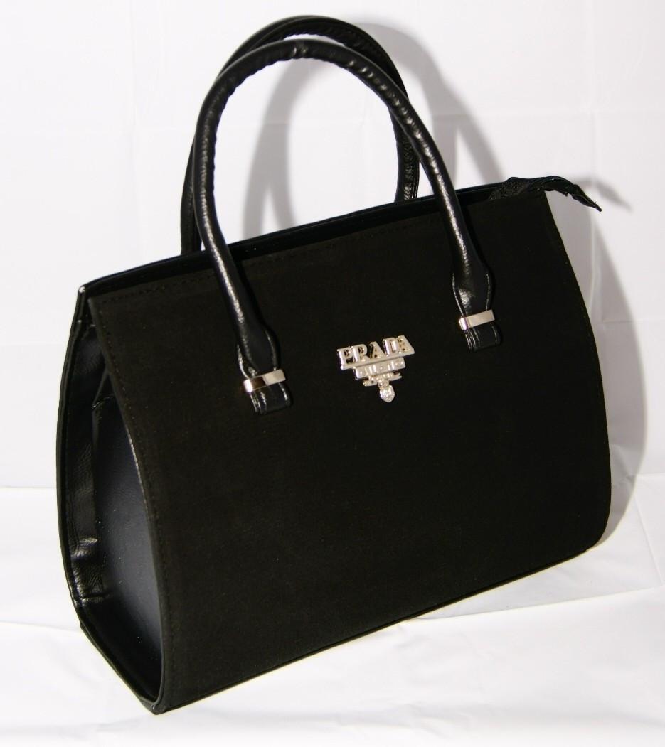 Чёрная каркасная сумка Prada (Прада), замш+кожзам ( код: IBG001B )